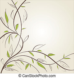 Stylized willow branch Vector illustration