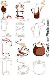 vector coffee elements set