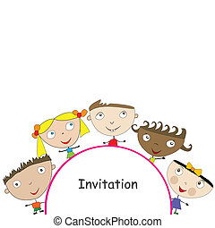 Invitation with cute stylized children