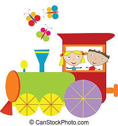 Children background with steam engi