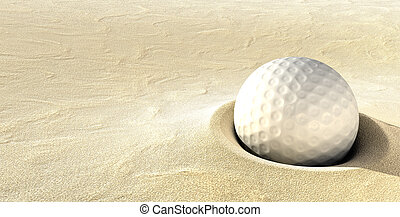 Plugged Golf Ball - A ball plugged deep in a sand bunker