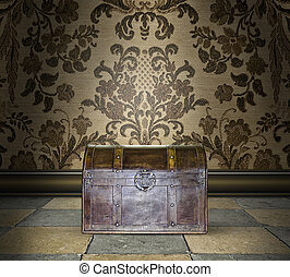 Locked Treasure Chest in a Damask Room - Mysterious locked...