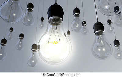 Light Bulb - Switched On - An array of hanging light bulbs...