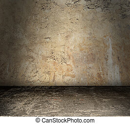 Bare Grunge Concrete Room - Grungy stained concrete room...