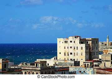 Centro Havana - overview of the crumbling city, El Morro,...
