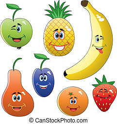 vector set of colorful funny fruits