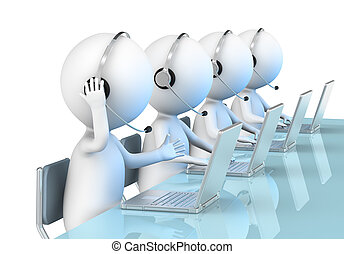 Call Center - 3D little human character X 4 in a Call Center...