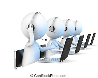 Help Desk - 3D little human character X 4 in a Call Center...