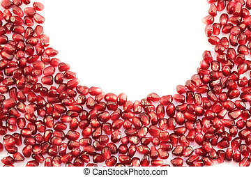 pomegranate - berries are juicy pomegranate lined semicircle...