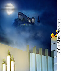 Castle on a hill - A magestic and mysterious castle at night...