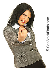 Come here! - Business woman gesture with finger to come to...