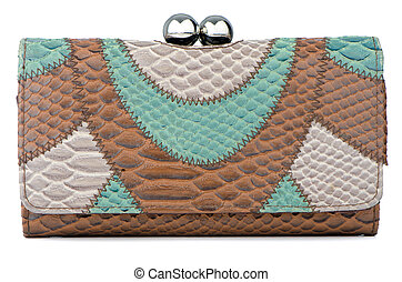 Clutch bag - Elegant brown and green clutch bag.