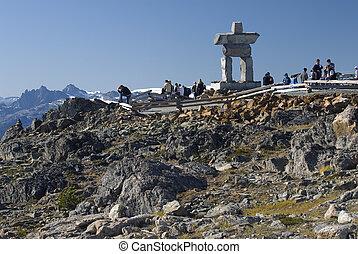 Whistler Peak with Illanaaq (Friend) the Inukshuk - Whistler...