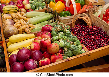 fall harvest vegetables - large group of fall harvest...