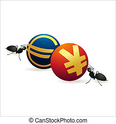 Two ants pushing Yuan and Euro symbols