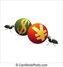 Two ants pushing Dollar and Yuan symbols against each other