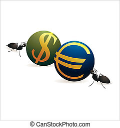Two ants pushing Dollar and Euro  s