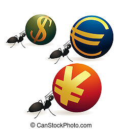 Three ants pushing Yuan Euro and Dollar symbols