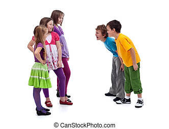 Group of boys and girls mocking each other - Group of boys...