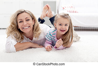 madre, bambino, detenere, divertimento