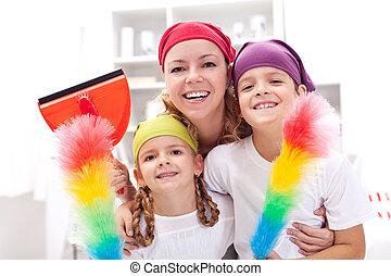 Cleaning taskforce - woman with kids tidy up - Cleaning...
