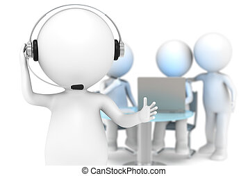 Customer Support - 3D little human character with a Headset...