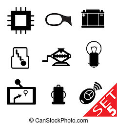 Car part icon set 5. Vector Illustration EPS8.