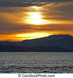 Sunset above Vancouver Island, BC, Canada