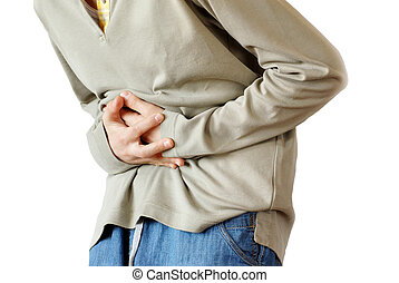 Stomach pain - boy holding hands on his stomach over white...