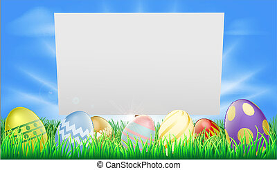 Easter sign illustration in meadow with sun rays and...