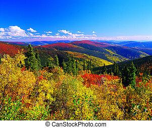 Yukon, montanhas, outono, cores, Canadá