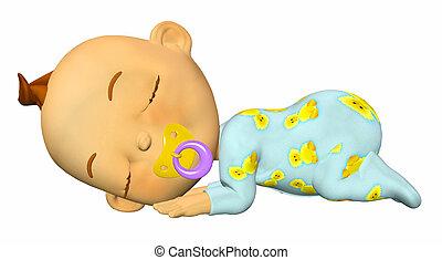 Sleeping baby cartoon - Illustration of a sleeping baby...