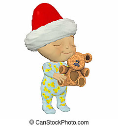 Christmas Baby with teddy bear