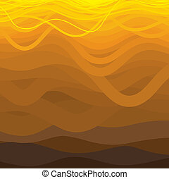 Curved wavy lines in brown and yellow shades.
