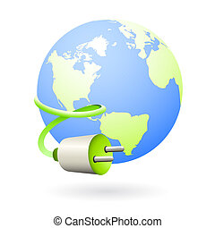 Earth clean energy source icon - Illustration of the earth...