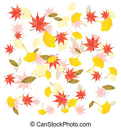 Fall leaves background - Illustration of leaves falling on...