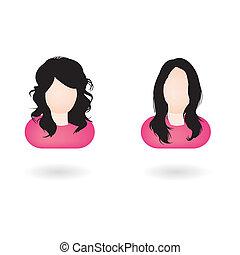 Female web avatars - Illustration of two female avatars with...