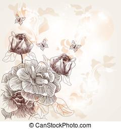 romanticos, cartão postal, rosas