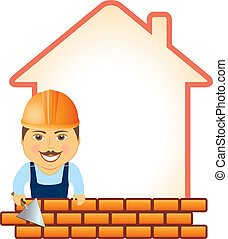 builder with trowel, bricks and hou