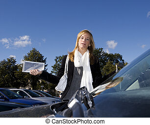 Woman and Parking ticket - Angry woman getting a Parking...