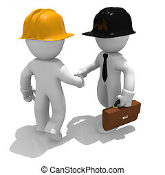 Shake hands - Architect and worker shaking hands, 3d image