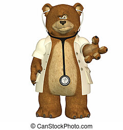 Doctor Bear - Illustration of doctor bear isolated in a...