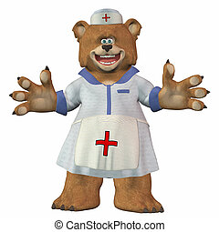Bear nurse - Illustration of a bear nurse isolated on a...