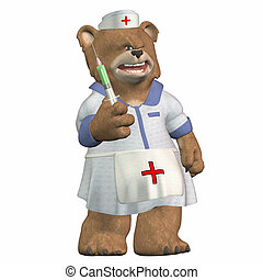 Bear nurse with syringe - Illustration of a bear nurse...