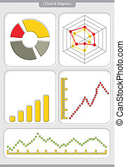 Ghart with diagrams - Chart with abstract background and...