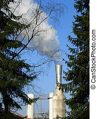 fábrica, tubos, contaminación