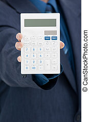 Office worker with calculator