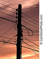 wires on pillar - Many wires on an electric pillar