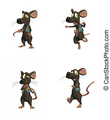 Cartoon Mouse Pack #2 - Illustration of four different poses...