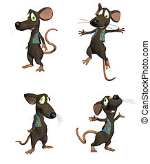 Cartoon Mouse Pack #1 - Illustration of four different poses...